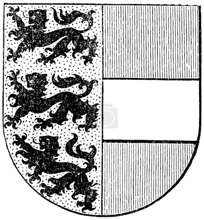 "Coat of arms of the state of Carinthia, (Austro-Hungarian Monarchy). Publication of the book ""Meyers Konversations-Lexikon"", Volume 7, Leipzig, Germany, 1910"
