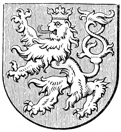 "Coat of arms of the Kingdom of Bohemia, (Austro-Hungarian Monarchy). Publication of the book ""Meyers Konversations-Lexikon"", Volume 7, Leipzig, Germany, 1910"