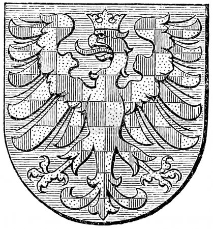 "Coat of arms of Moravia, (Austro-Hungarian Monarchy). Publication of the book ""Meyers Konversations-Lexikon"", Volume 7, Leipzig, Germany, 1910"
