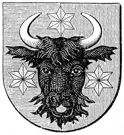 "Coat of arms of Bukovina, (Austro-Hungarian Monarchy). Publication of the book ""Meyers Konversations-Lexikon"", Volume 7, Leipzig, Germany, 1910"