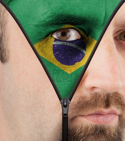 Unzipping face to flag of Brazil