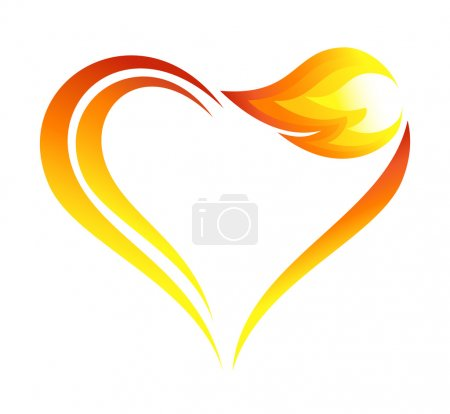 Abstract fire flames icon with heart element