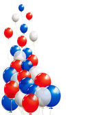 Balloons in white blue and red