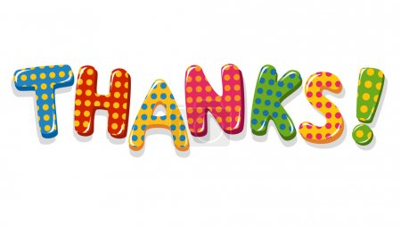 Illustration for Thanks colorful lettering with polka dot pattern - Royalty Free Image