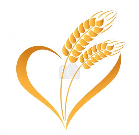 Abstract wheat ears icon with heart element...