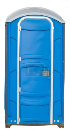 Photo for Temporary single plastic toilet used in public or private places when festival or huge public appearance happens. - Royalty Free Image