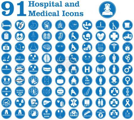 Illustration for Medical icons used in hospital and signs like doctor, patient, ambulance, medicines, surgery and other signs inside and outside the hospital building etc. - Royalty Free Image