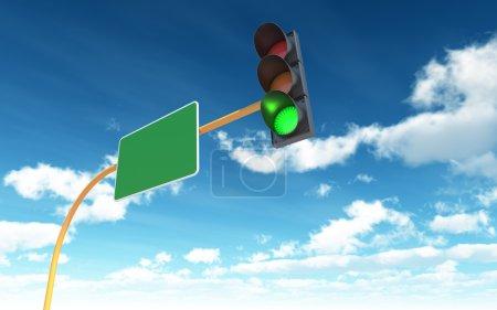 Photo pour Feu vert sur fond de ciel bleu - image libre de droit