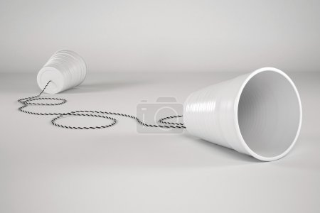 Photo for Comunication Plastic Glass with Cable - high quality render - Royalty Free Image