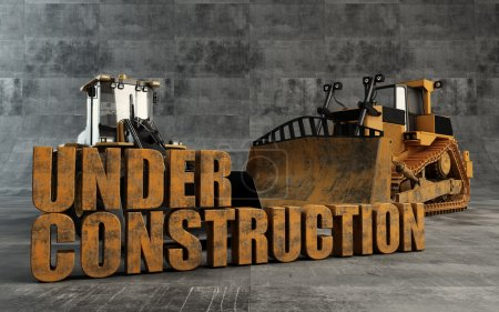 Under Construction background with bulldozer and loader