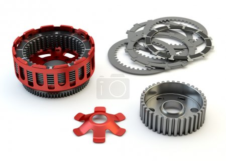 Clutch parts disassembled isolated on white background