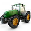 Modern powerful green farm tractor isolated on whi...