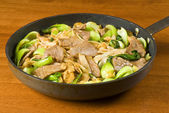 Stir Fried Rice Noodles with Beef and Baby Bok Choy