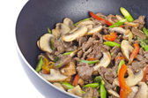 Stir Fried Beef and Vegetables in a Wok