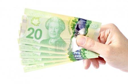 Photo pour Main tenant des bons de 20 dollars canadiens . - image libre de droit