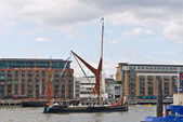 Traditional Sailing Barge the Edith May sails up the Thames.