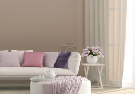 Photo for Sunny living room with flowers - Royalty Free Image