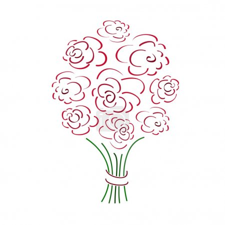Illustration pour Bouquet de roses, illustration vectorielle - image libre de droit