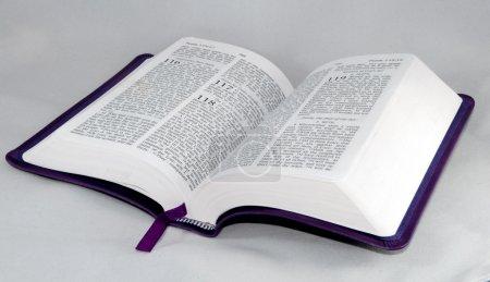 Photo pour Ouvrir la bible Psaume 118 isolé sur fond blanc. - image libre de droit