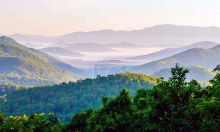 Photo for Blue Ridge Parkway Scenic Landscape Appalachian Mountains Ridges Sunrise Layers over Great Smoky Mountains - Royalty Free Image