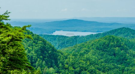 Aerial views over South Carolina Lake Jocassee Gor...