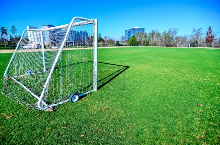Soccer field on a sunny day in a Public Park