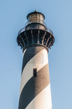 Diagonal black and white stripes mark the Cape Hatteras lighthou