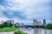 Columbus, Ohio skyline reflected in the Scioto River. Columbus i