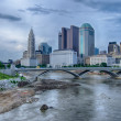 Columbus, Ohio skyline reflected in the Scioto Riv...