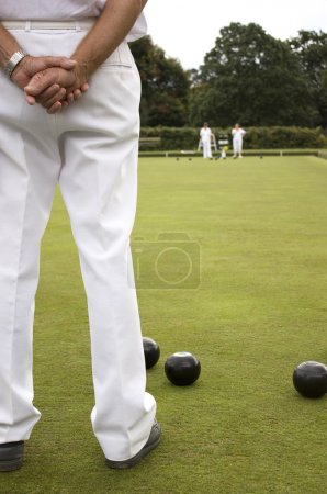 Photo for White trousers as Subject on Bowls green - Royalty Free Image