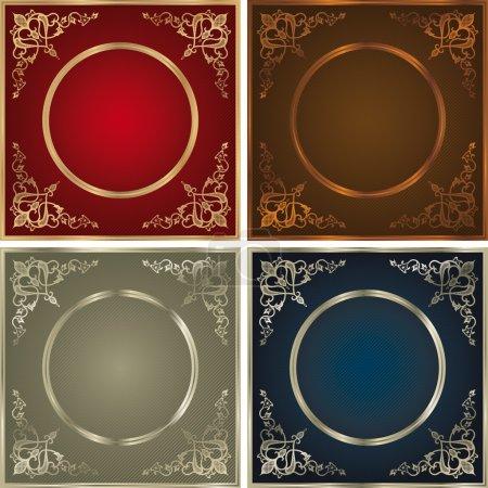 Illustration for Vintage backgrounds set in four colour variations. - Royalty Free Image