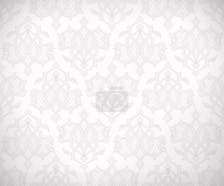 Illustration for Vintage abstract vector seamless pattern in subtle shades of white and gray colors for wallpaper background design. EPS 10 - Royalty Free Image