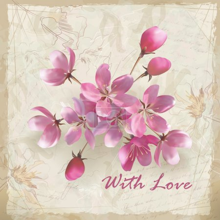 Artistic vector floral design with hand drawn flowers, a beautiful bouquet of realistic pink flowers, grunge calligraphic text and 'With Love' lettering on vintage old paper background in retro style