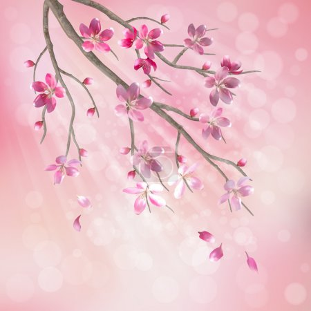 Illustration for Spring vector tree branch cherry blossom flower. Floral artistic design with beautiful pink cherry (plum) blooming flowers, tree branch, flying petals, sun rays, light effect on pastel blur background - Royalty Free Image