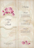 Floral vector decorative wedding menu or invitation template design with beautiful realistic bouquet of pink flowers abstract decorative wallpaper pattern on grunge textured background in vintage style