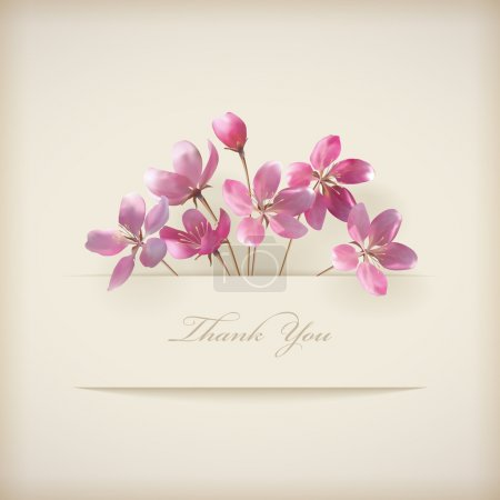 Illustration for Floral 'Thank you' card with beautiful realistic spring pink flowers and banner with drop shadows on a beige elegant background in modern style. Perfect for wedding, greeting or invitation design. EPS 10 vector illustration. - Royalty Free Image
