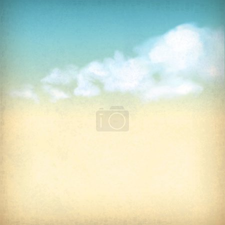 Illustration for Vintage sky old paper retro style background with white clouds, subtle grunge texture of surface of the paper at the backdrop in blue & yellow colors like watercolor stretching on a clear summer day - Royalty Free Image