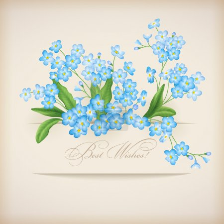 Illustration for Blue spring flowers forget-me-not greeting card. Floral postcard with banner, shadows and text Best Wishes! on a beige background in retro style. Perfect for wedding, greeting or invitation design - Royalty Free Image