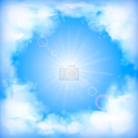Illustration for Sky vector design with white fluffy clouds, sun, blur, light effects on a clear summer day. Artistic background with space for text at the backdrop in blue pastel colors - Royalty Free Image