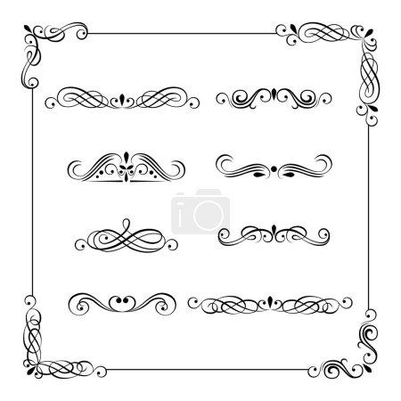 Vintage vector frame, border, divider, corner