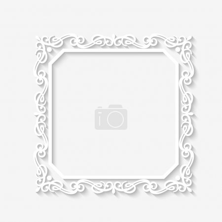 Illustration for Vector vintage  baroque white frame with long shadows. Blank square paper frame with Baroque pattern and retro decorations on gray wall - Royalty Free Image