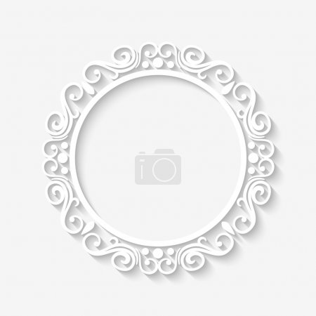 Illustration for Vector vintage circle white border frame with long shadows. Blank square paper frame with Baroque pattern and retro decorations on gray wall - Royalty Free Image