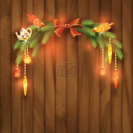 Christmas Vector Tree Branches Decorations Toys