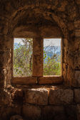 View of trees and mountains through antique window on old stone