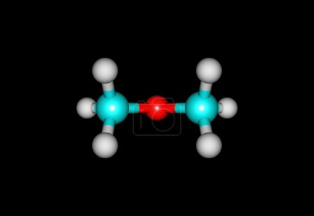 Dimethyl ether molecule illustration isolated on black