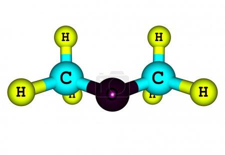 Dimethyl ether molecule illustration isolated on white