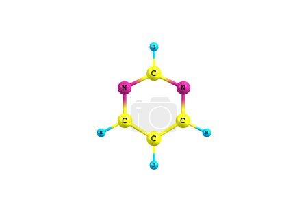 Pyrimidine molecule illustration isolated on white