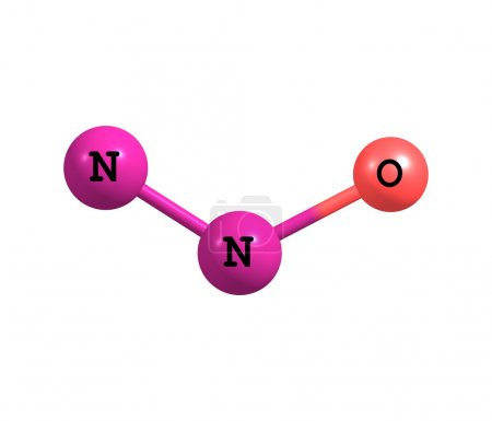 Nitrous oxide molecular structure isolated on white
