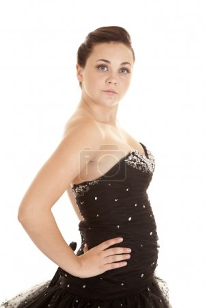 Woman black formal side