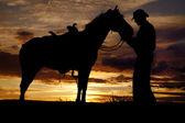 Cowboy horse sunset stand